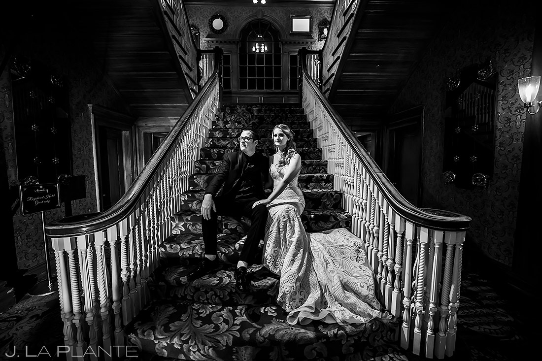 Bride and Groom on the Stanley Hotel Steps | Stanley Hotel Wedding | Estes Park Wedding Photographer | J. La Plante Photo