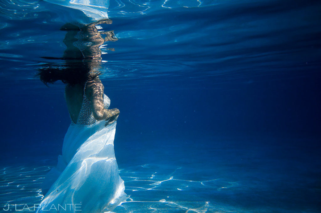 Underwater Bride Portrait | St Lucia Wedding | Destination Wedding Photographer | J. La Plante Photo