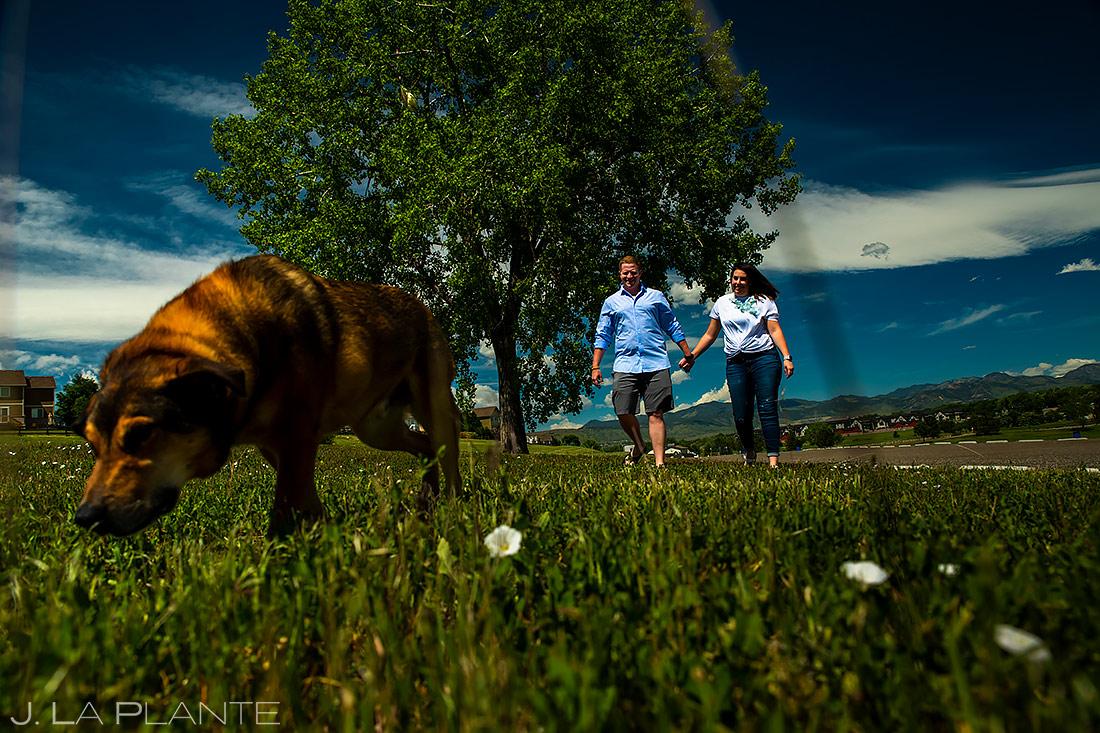 Couple Walking Dog | Denver Engagement | Denver Wedding Photographers | J. La Plante Photo