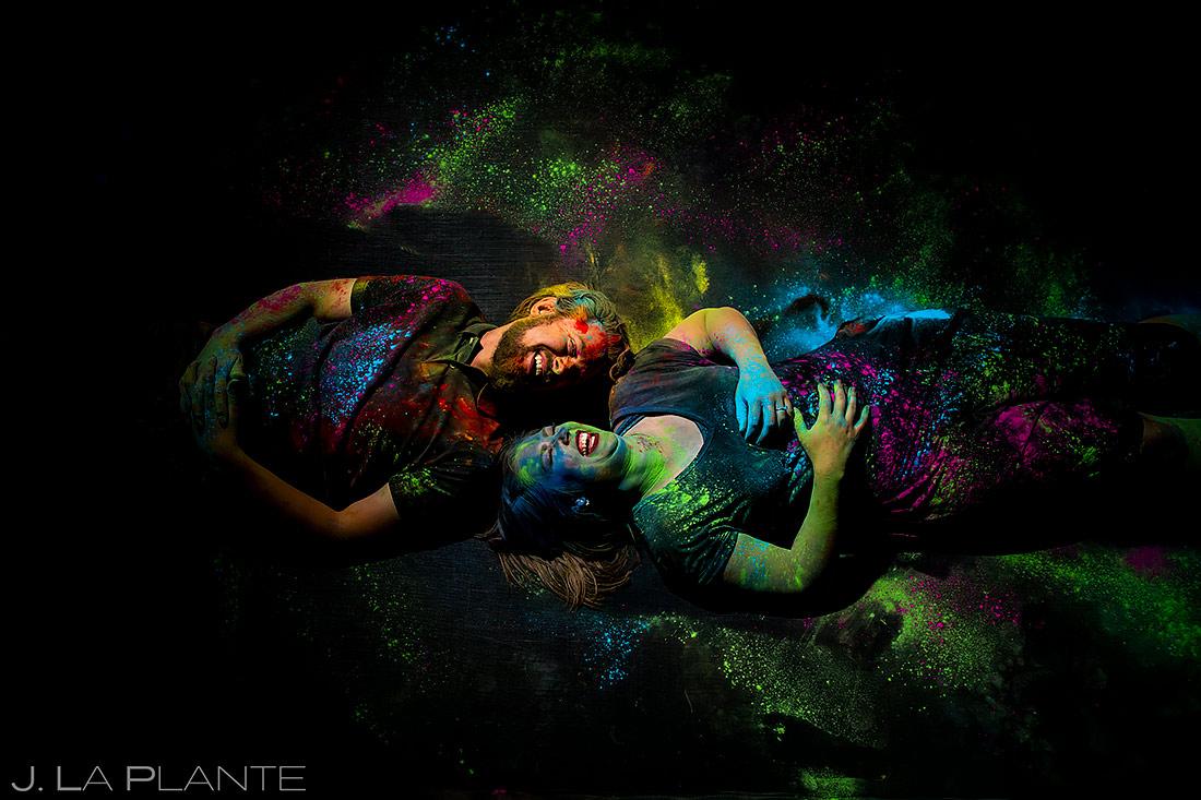 Unique Engagement Photo Ideas | Holi Powder Engagement | Boulder Wedding Photographers | J. La Plante Photo