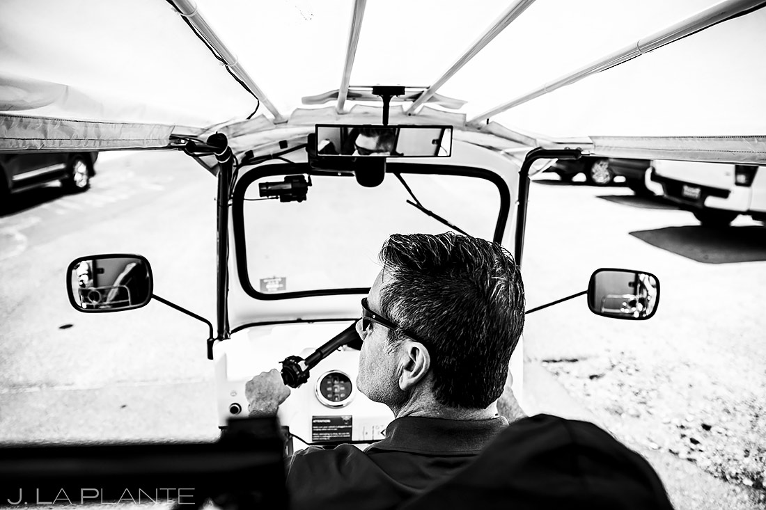 Bride and Groom Riding in Tuk Tuk | Denver Engagement | Denver Wedding Photographers | J. La Plante Photo