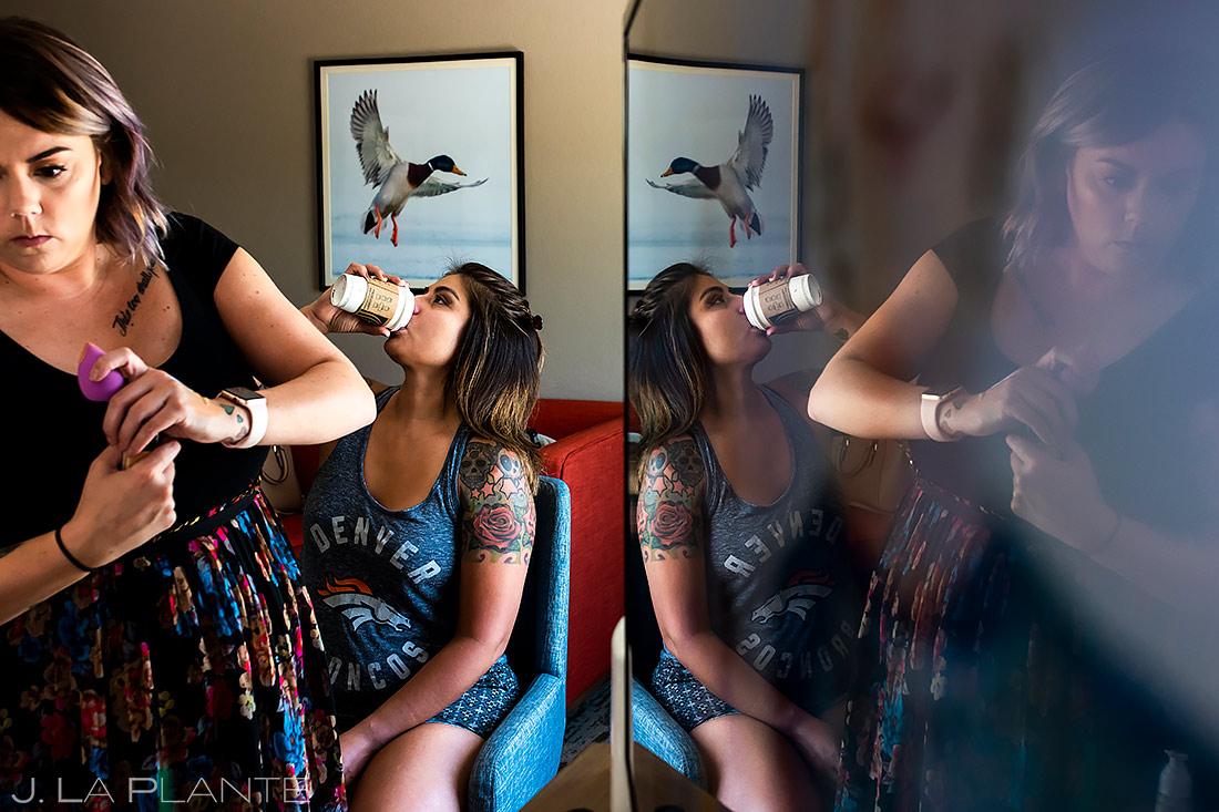 Bridesmaid Drinking Coffee | Lafayette Colorado Wedding | Boulder Wedding Photographer | J. La Plante Photo