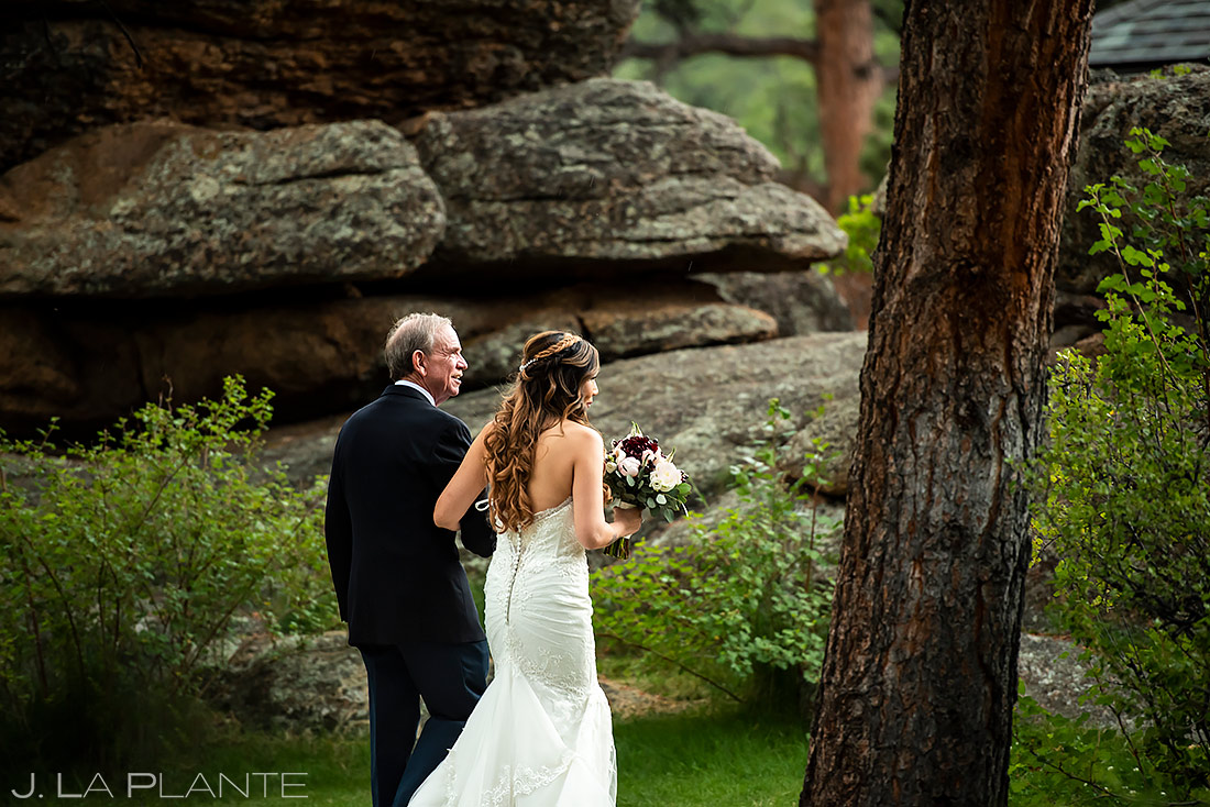Bride Walking Down Aisle | Black Canyon Inn Elopement | Estes Park Wedding Photographer | J. La Plante Photo