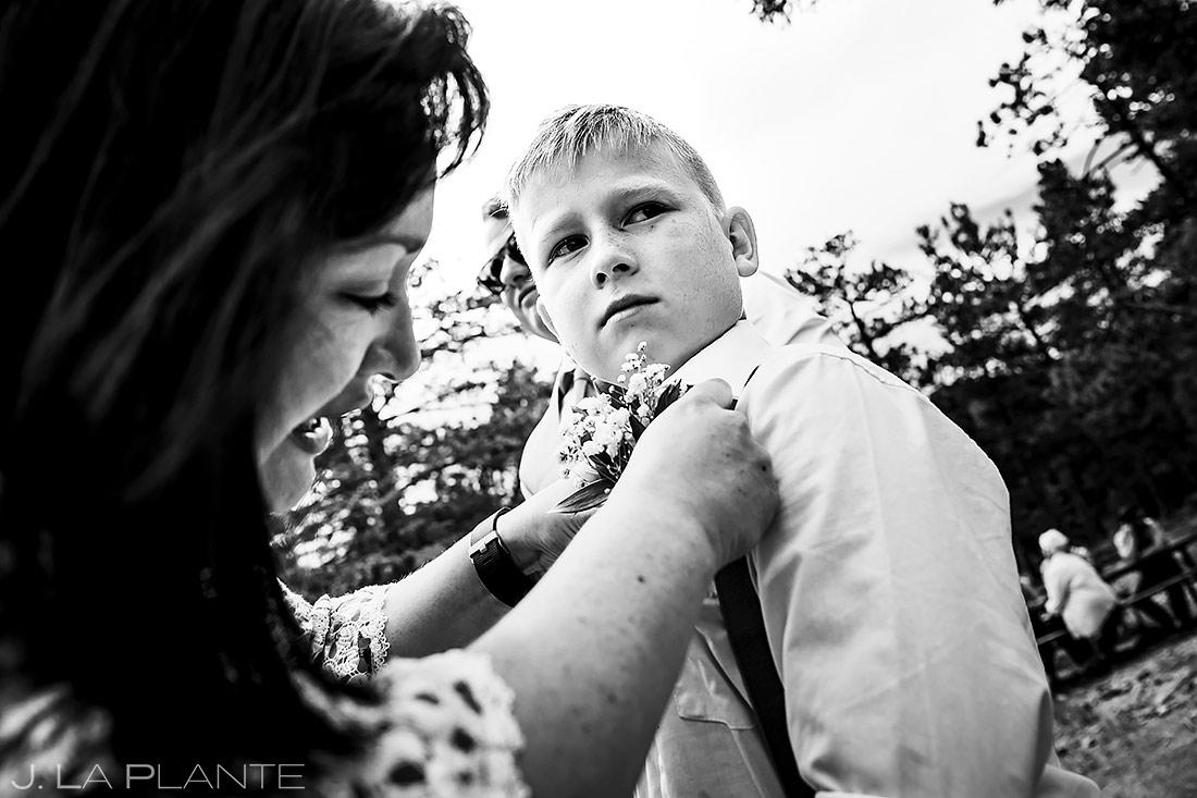 Ring Bearer Boutonniere | Rocky Mountain National Park Wedding | Estes Park Wedding Photographer | J. La Plante Photo
