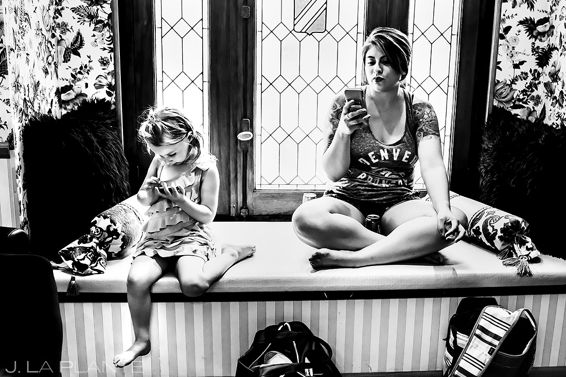 Flower Girl on the Phone | Lionsgate Event Center Wedding | Boulder Wedding Photographer | J. La Plante Photo