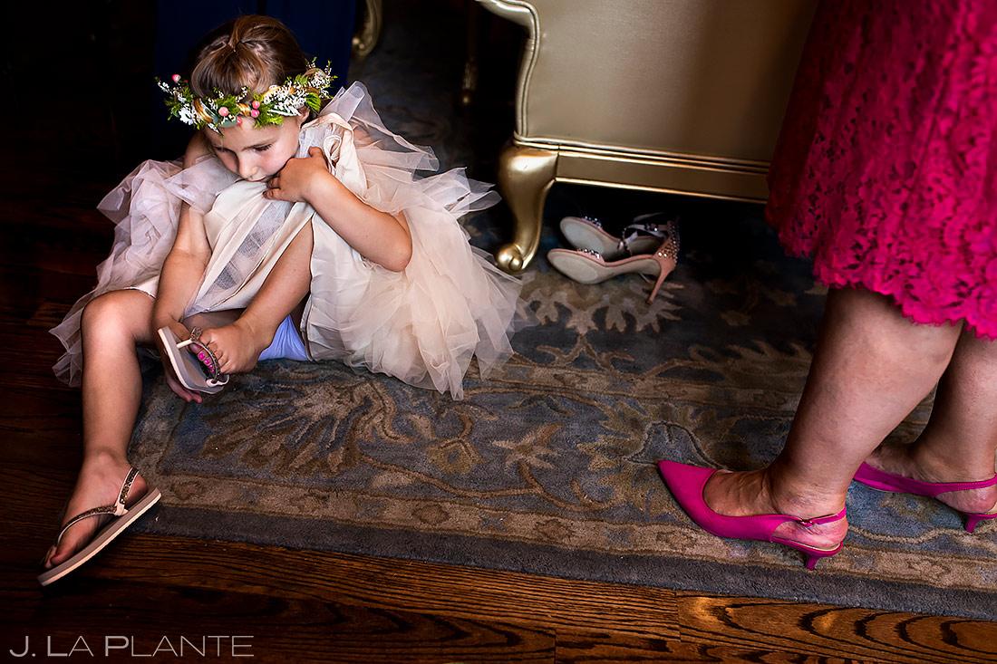 Flower Girl Getting Ready | Lionsgate Event Center Wedding | Boulder Wedding Photographer | J. La Plante Photo