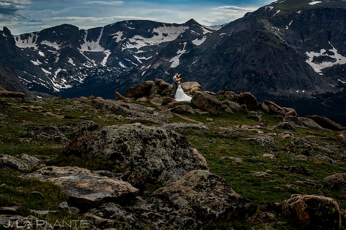 Bride and Groom Mountain Wedding Portrait | Rocky Mountain National Park Wedding | Estes Park Wedding Photographer | J. La Plante Photo