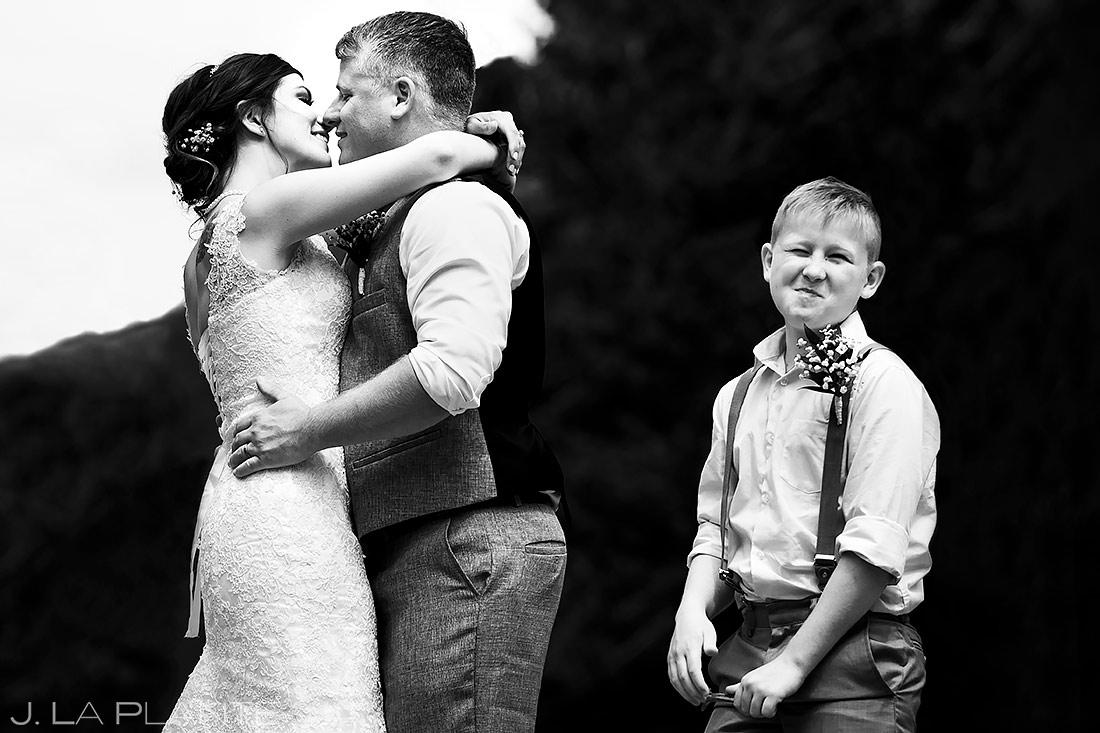 Bride and Groom First Kiss | Lily Lake Wedding | Estes Park Wedding Photographer | J. La Plante Photo