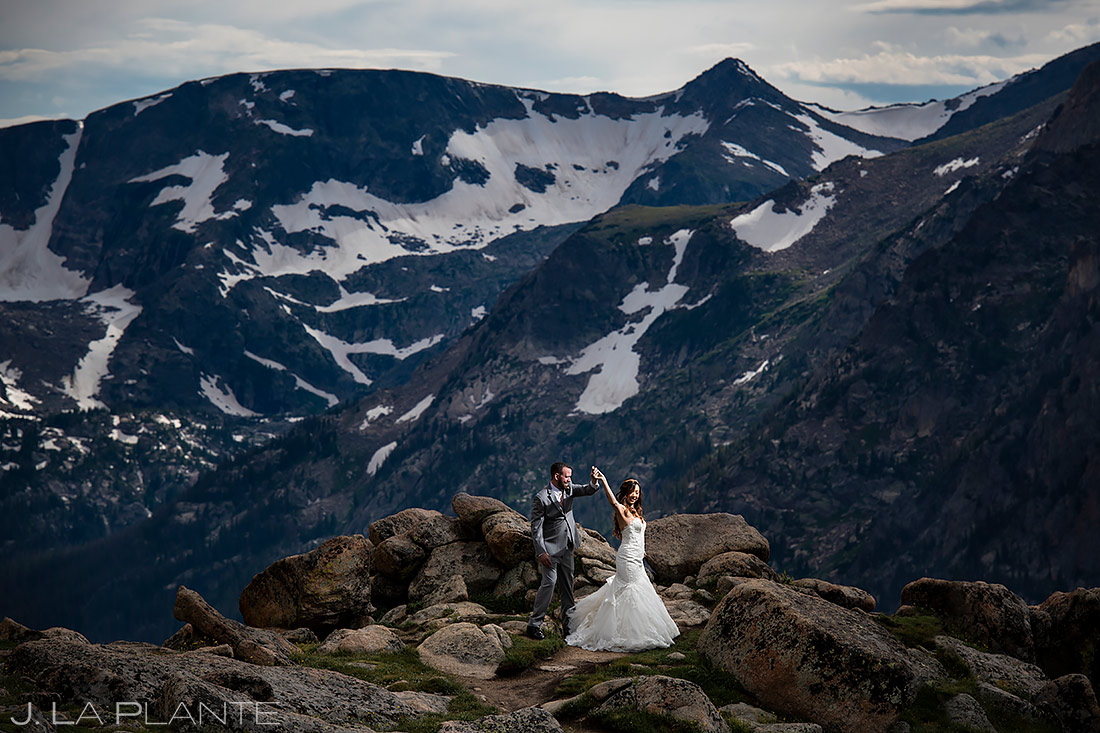Bride and Groom Dancing in the Mountains | Rocky Mountain National Park Elopement | Estes Park Wedding Photographer | J. La Plante Photo
