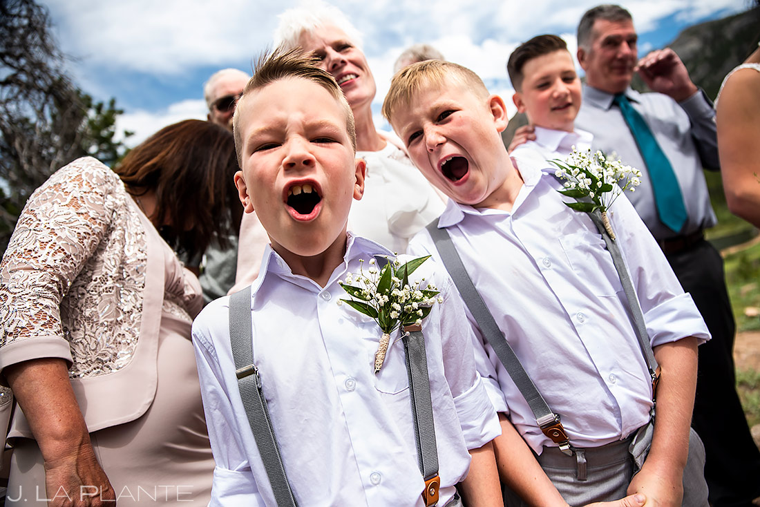 Funny Wedding Kids | Rocky Mountain National Park Wedding | Estes Park Wedding Photographer | J. La Plante Photo