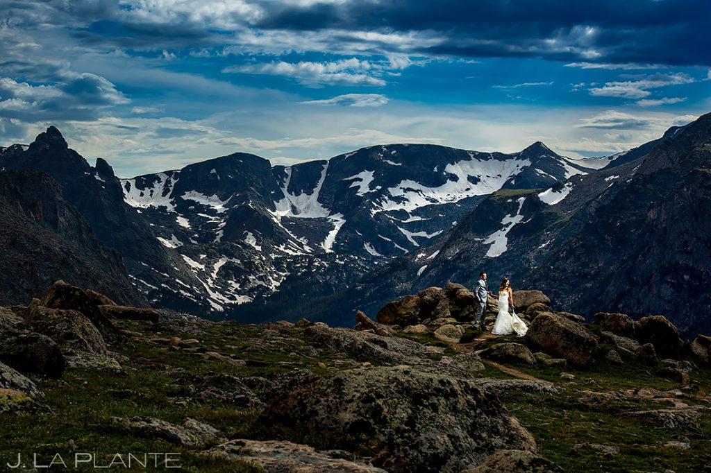 Bride and Groom Hiking in the Mountains | Rocky Mountain National Park Wedding | Estes Park Wedding Photographer | J. La Plante Photo