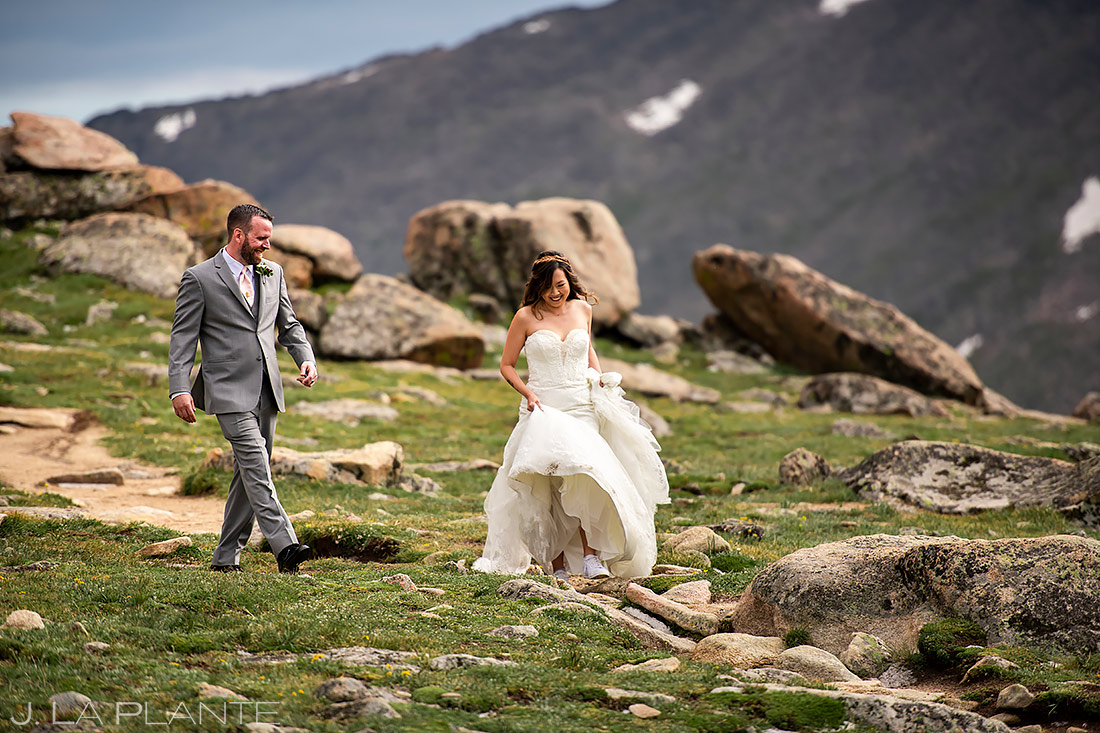 Bride and Groom Hiking in the Mountains | Rocky Mountain National Park Elopement | Estes Park Wedding Photographer | J. La Plante Photo