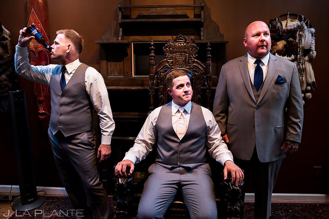 Groomsman Chugging Beer | Lionsgate Event Center Wedding | Boulder Wedding Photographer | J. La Plante Photo
