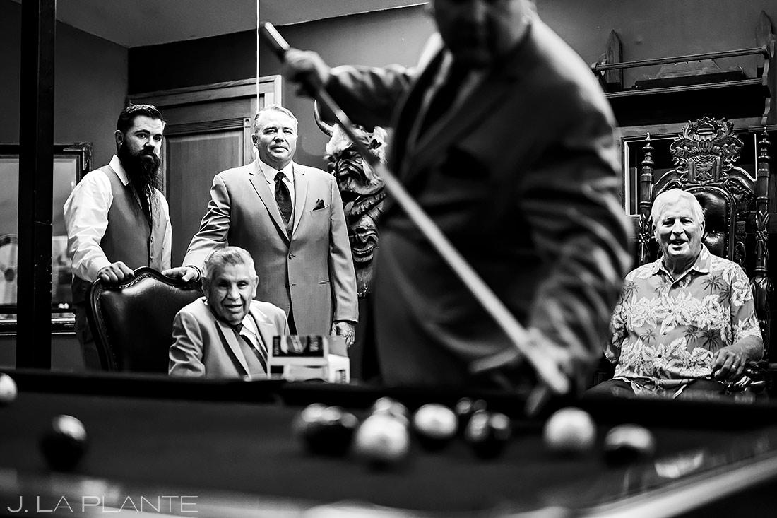 Groomsmen Playing Pool | Lionsgate Event Center Wedding | Boulder Wedding Photographer | J. La Plante Photo