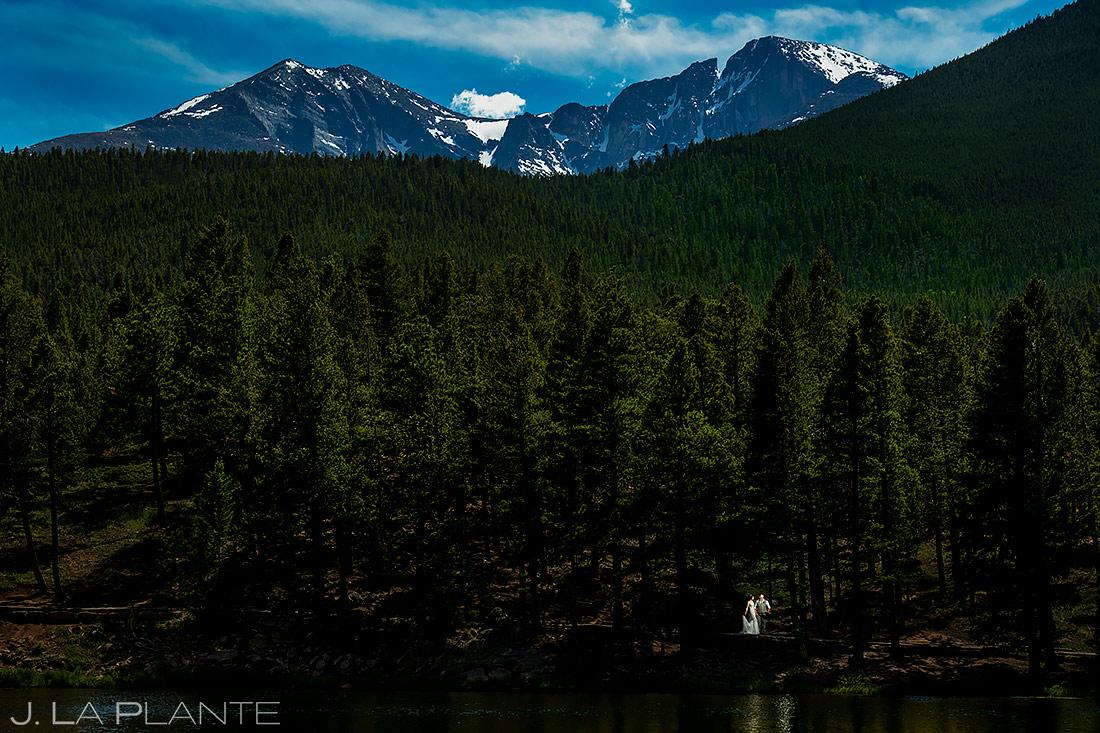 Bride and Groom at Longs Peak | Lily Lake Wedding | Estes Park Wedding Photographer | J. La Plante Photo
