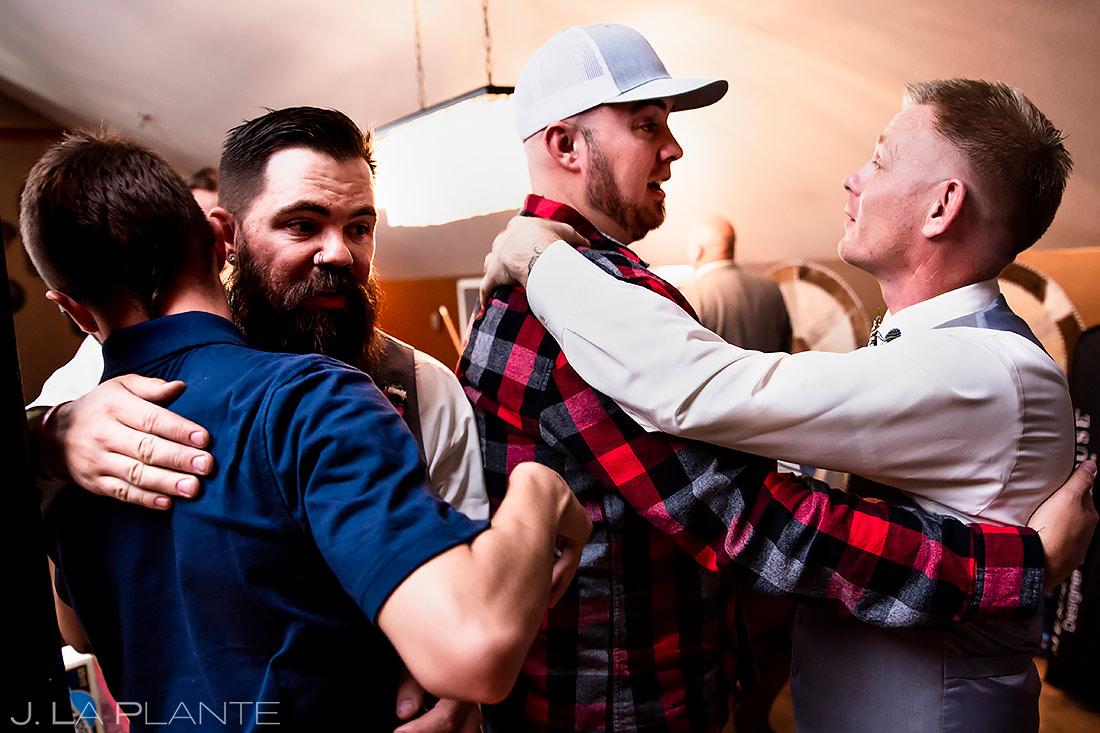 Groomsmen Hugging | Lafayette Colorado Wedding | Boulder Wedding Photographer | J. La Plante Photo