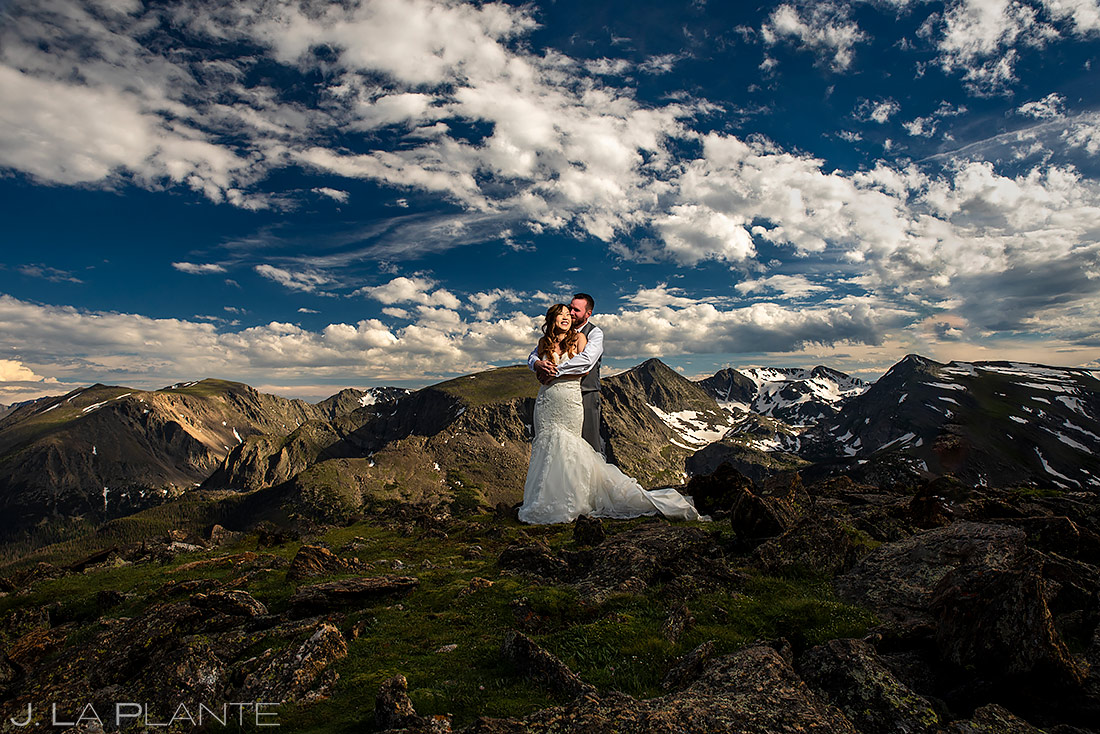 Bride and Groom Mountain Portrait | Rocky Mountain National Park Elopement | Estes Park Wedding Photographer | J. La Plante Photo