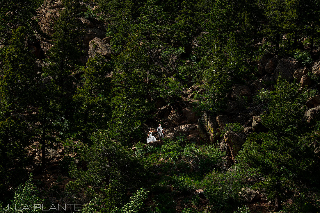 Bride and Groom Hiking | Rocky Mountain National Park Wedding | Estes Park Wedding Photographer | J. La Plante Photo