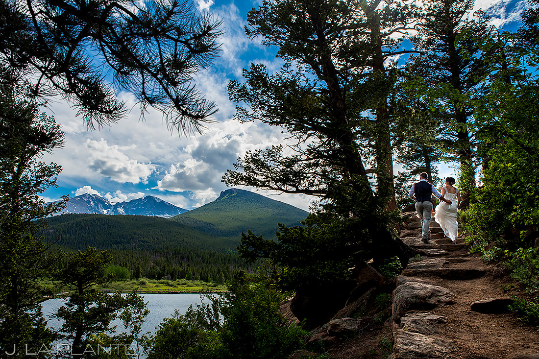 Bride and Groom Hiking in the Mountains | Lily Lake Wedding | Estes Park Wedding Photographer | J. La Plante Photo