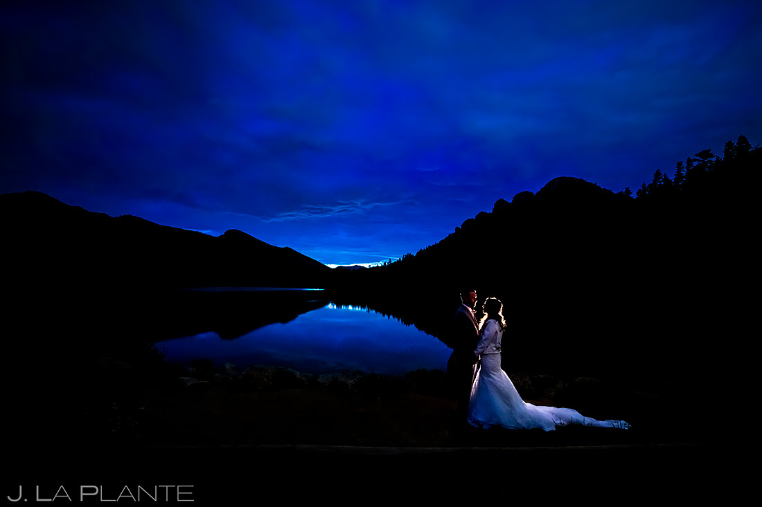Bride and Groom Nighttime Portrait | Rocky Mountain National Park Elopement | Estes Park Wedding Photographer | J. La Plante Photo