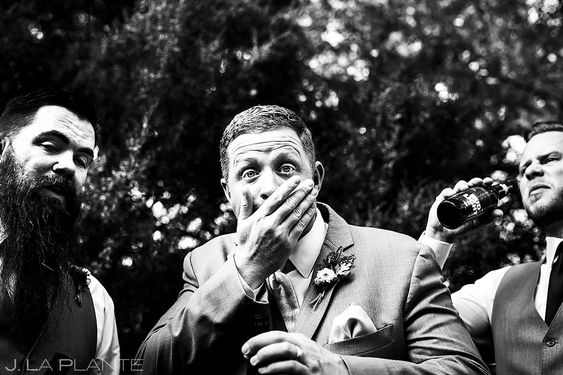 Groom Chugging Beer | Lionsgate Event Center Wedding | Boulder Wedding Photographer | J. La Plante Photo