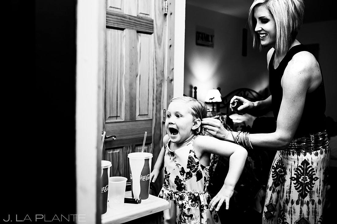 Flower Girl Getting Ready | Estes Park Wedding | Rocky Mountain National Park Wedding Photographer | J. La Plante Photo