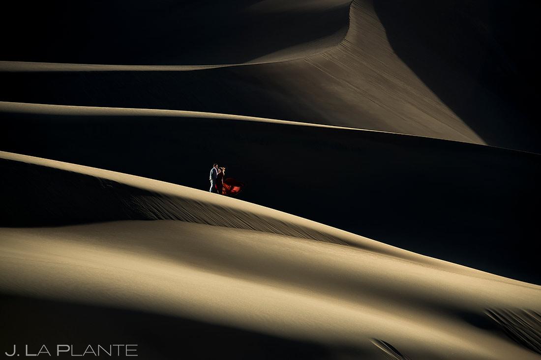 Bride and Groom on Sand Dunes | Great Sand Dunes Engagement Session | Unique Engagement Photos | J. La Plante Photo