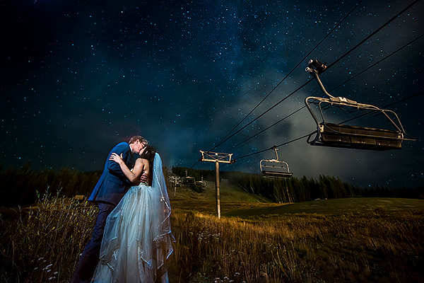 Bride and Groom Under the Stars | Copper Mountain Wedding | Colorado Wedding Photographer | J. La Plante Photo