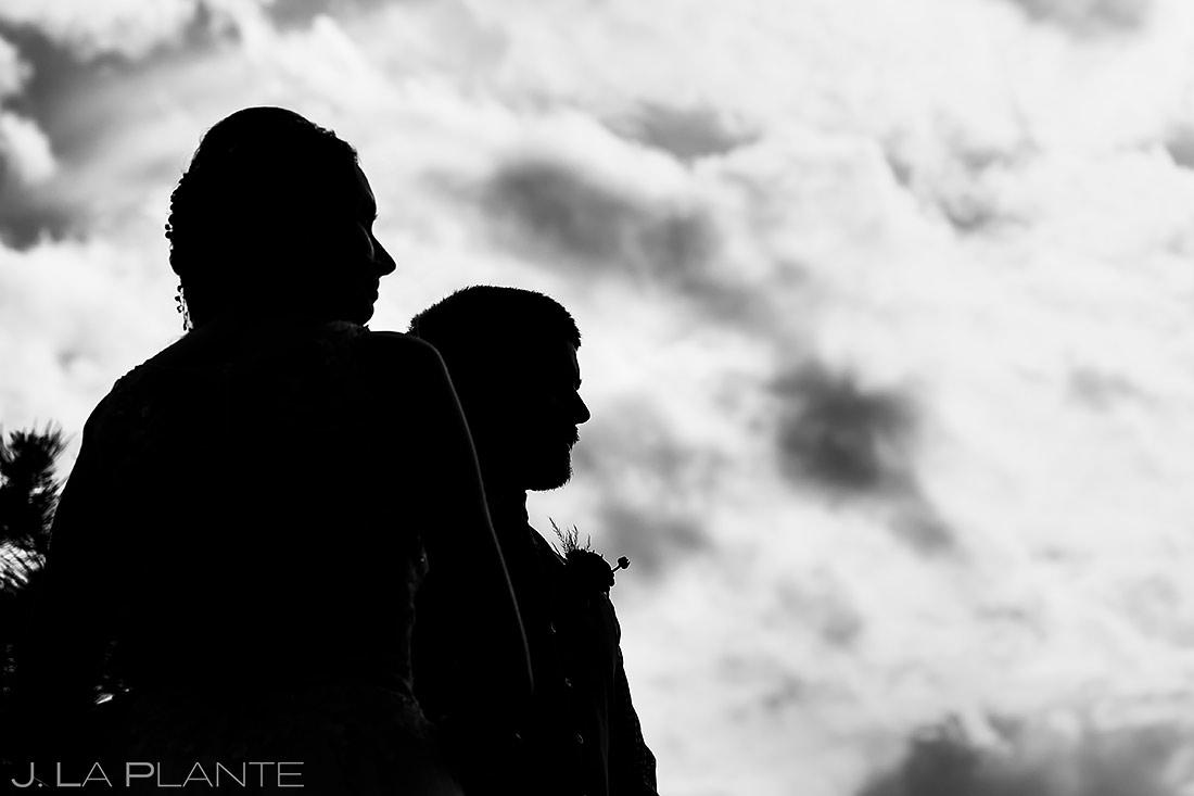 Bride and Groom Black and White | Estes Park Wedding | Rocky Mountain National Park Wedding Photographer | J. La Plante Photo