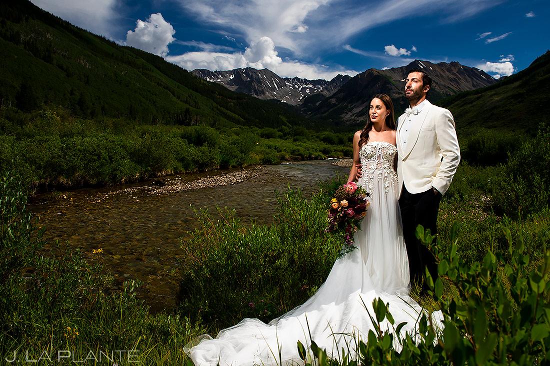 Bride and Groom Mountain Wedding Photo | Aspen Wedding | Aspen Wedding Photographer | J. La Plante Photo