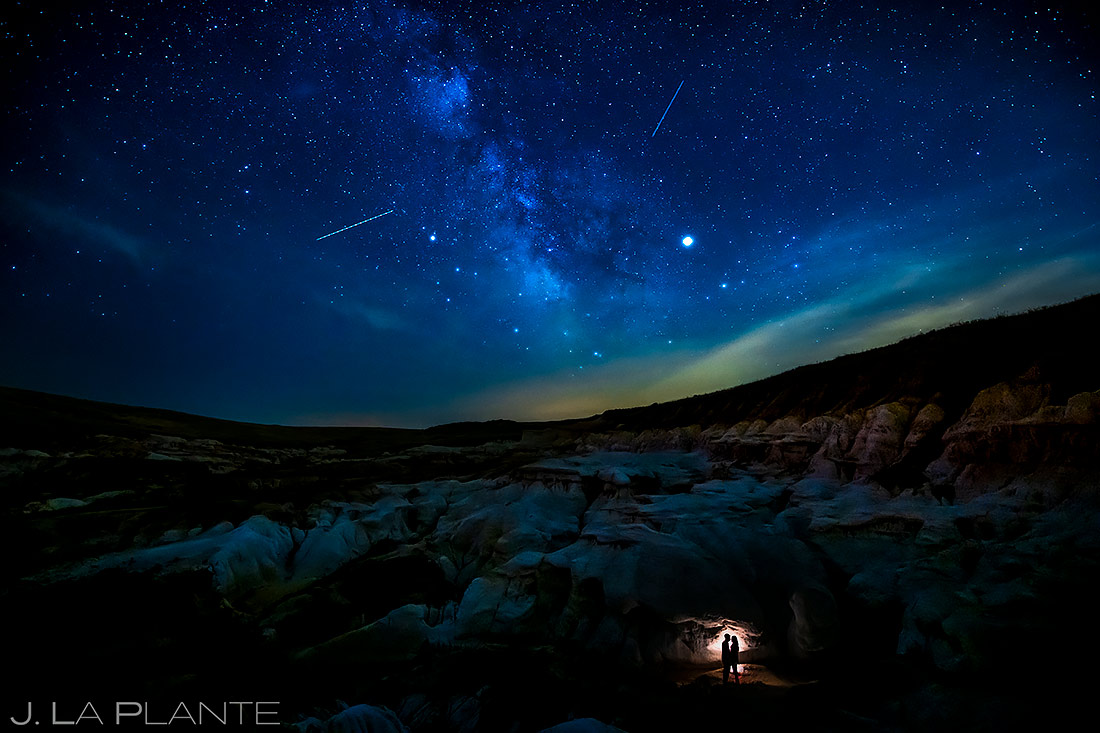 Starry Night Engagement Photo | Paint Mines Engagement Session | Colorado Springs Wedding Photographers | J. La Plante Photo