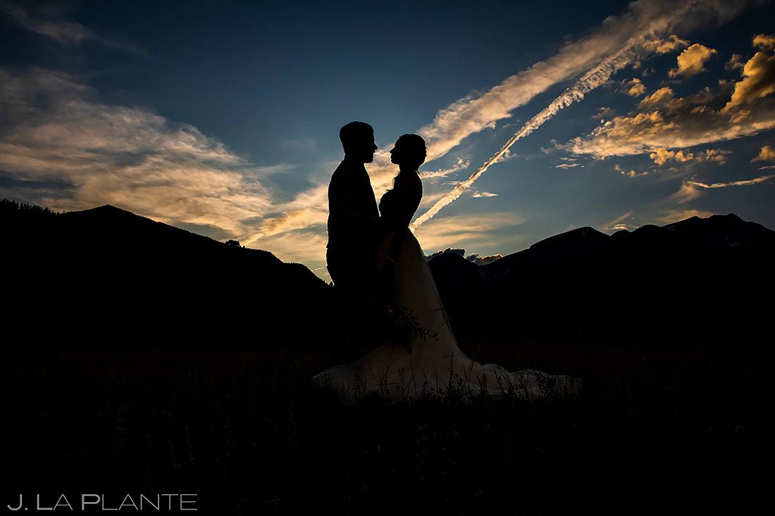 Bride and Groom Silhouettes | Estes Park Wedding | Rocky Mountain National Park Wedding Photographer | J. La Plante Photo