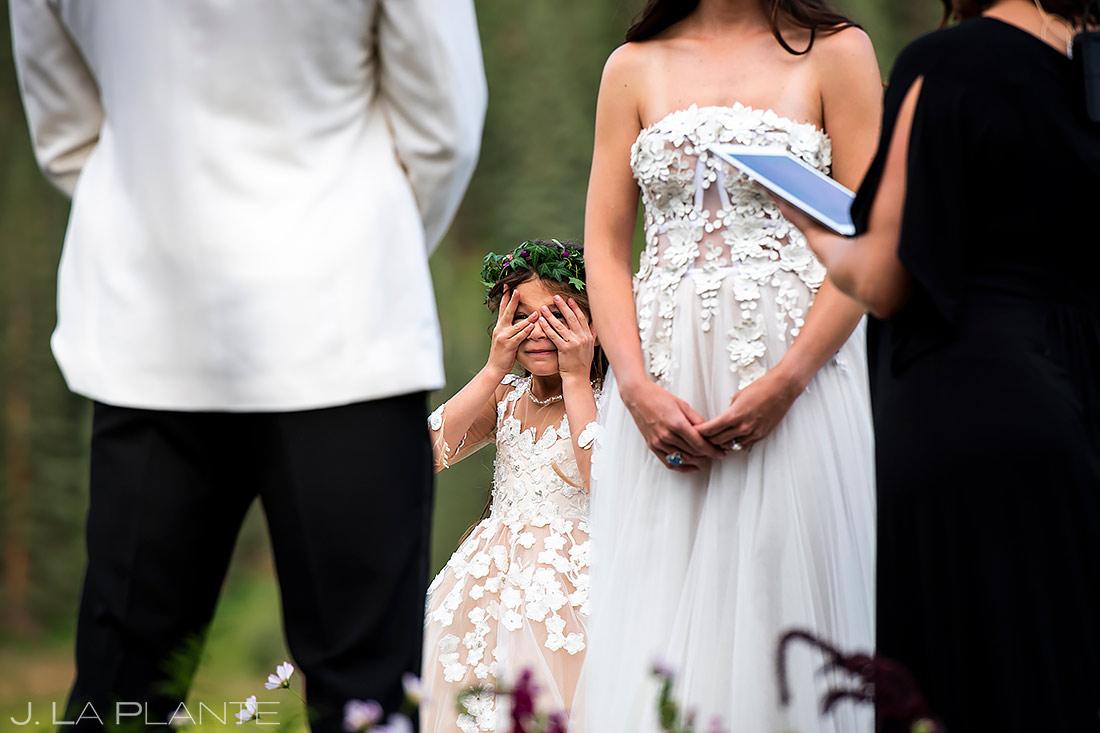 Funny Flower Girl | Aspen Wedding | Aspen Wedding Photographer | J. La Plante Photo