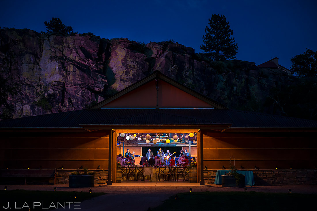 live band playing during blue hour in Lyons, Colorado