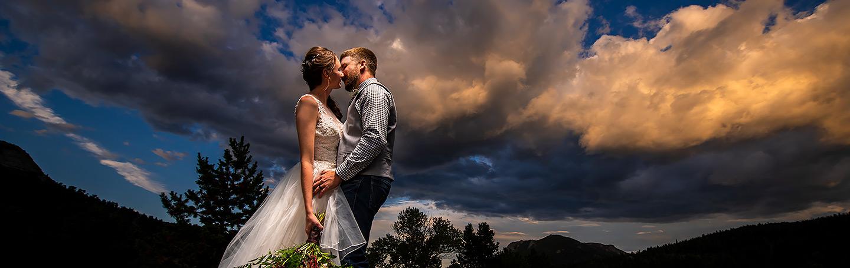 Bride and Groom Sunset Portrait | 3M Curve Wedding | Rocky Mountain National Park Wedding Photographer | J. La Plante Photo