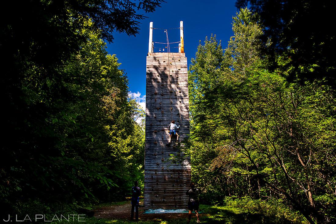 Wedding Guests on Climbing Wall | New York Destination Wedding | Destination Wedding Photographers | J. La Plante Photo