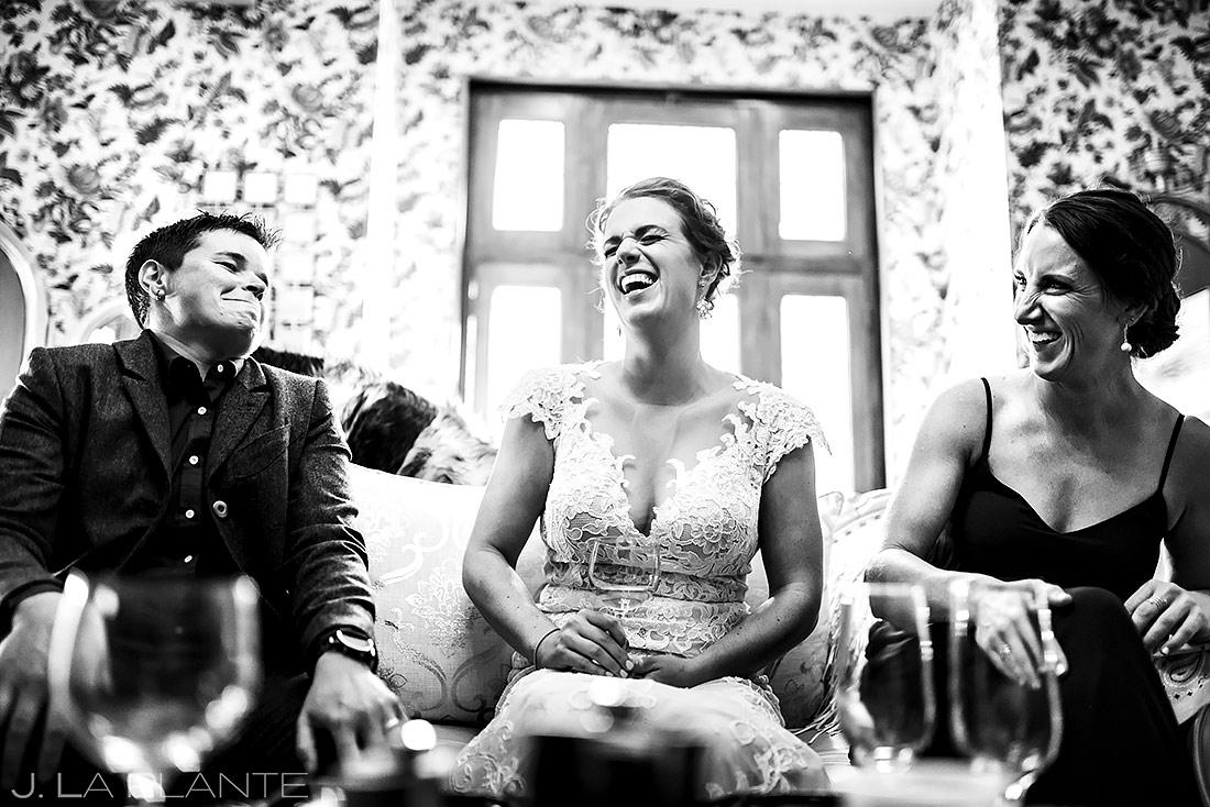 Bride Hanging Out with Bridesmaids | Boulder Photographer | J. La Plante Photo