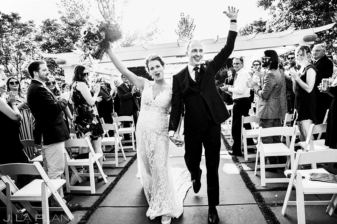 Bride and Groom Walking Down Aisle | Boulder Photographer | J. La Plante Photo