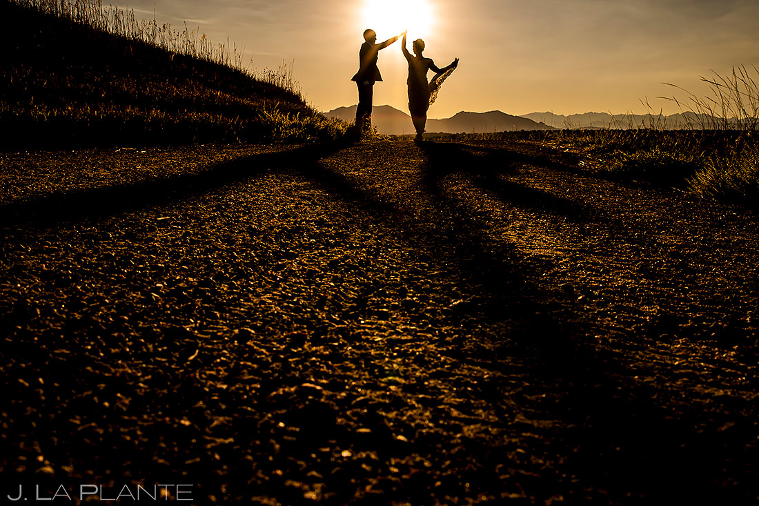 Bride and Groom Sunset Silhouette | Boulder Photographer | J. La Plante Photo