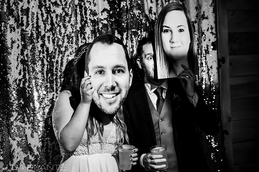 Bride and Groom in Photo Booth | Forest Lake Camp Wedding | Kick-ass Wedding Photographers | J. La Plante Photo