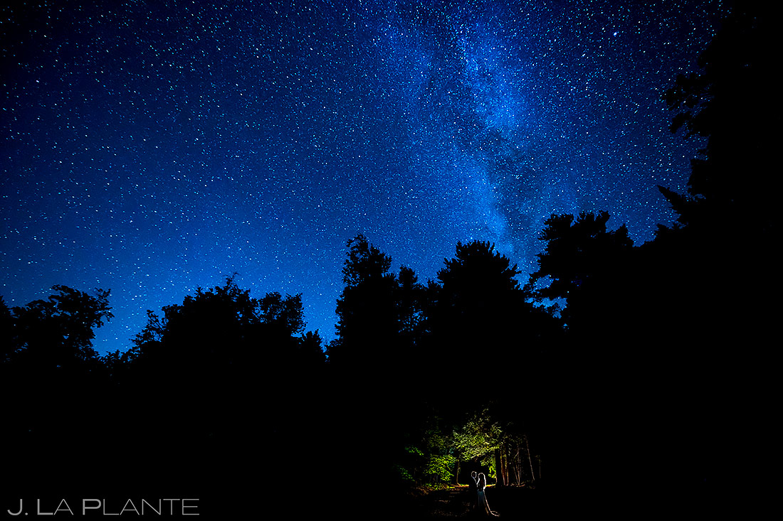 Bride and Groom Under the Stars | Forest Lake Camp Wedding | Kick-ass Wedding Photographers | J. La Plante Photo