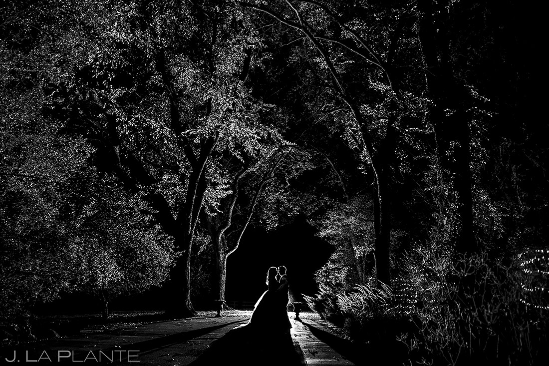 nighttime photo of bride and groom | Tapestry House wedding | Fort Collins wedding photographer | J. La Plante Photo