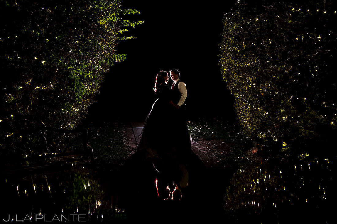 unique portrait of the bride and groom at night
