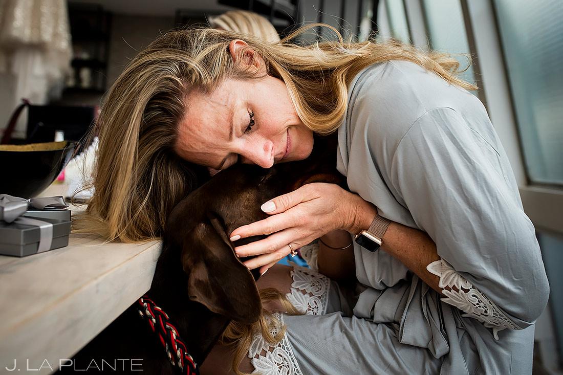 Bride with dog | Downtown Denver Wedding | Denver Wedding Photographer | J. La Plante Photo