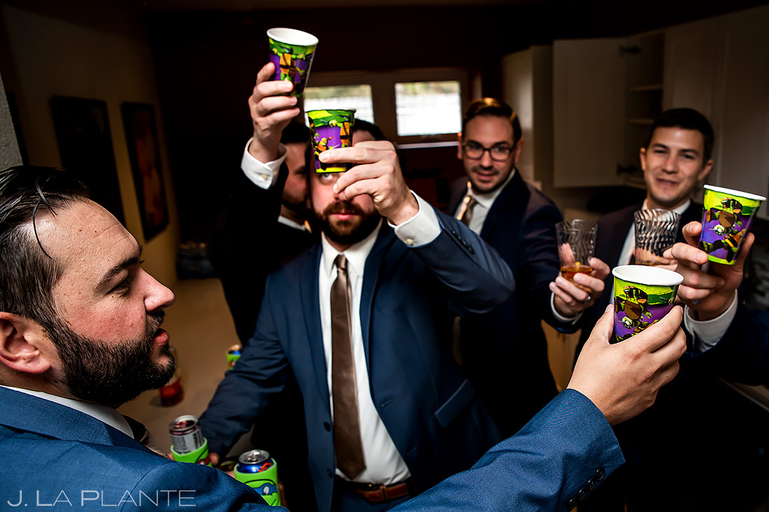 Groomsmen Doing Shots | Sanctuary Golf Course Wedding | Denver Wedding Photographer | J. La Plante Photo