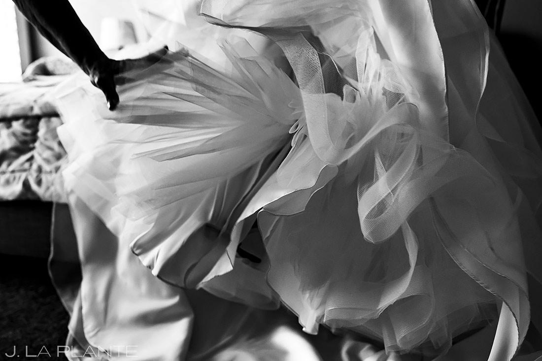 Bride Getting Into Dress | Sanctuary Golf Course Wedding | Denver Wedding Photographer | J. La Plante Photo