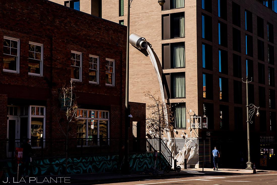 Groom riding scooter | Downtown Denver Wedding | Denver Wedding Photographer | J. La Plante Photo