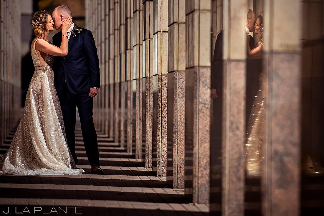Unique photo of bride and groom | Downtown Denver Wedding | Denver Wedding Photographer | J. La Plante Photo