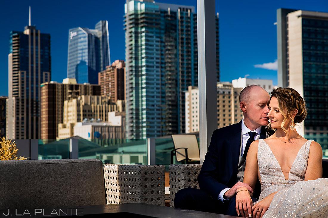unique bride and groom portrait in downtown Denver