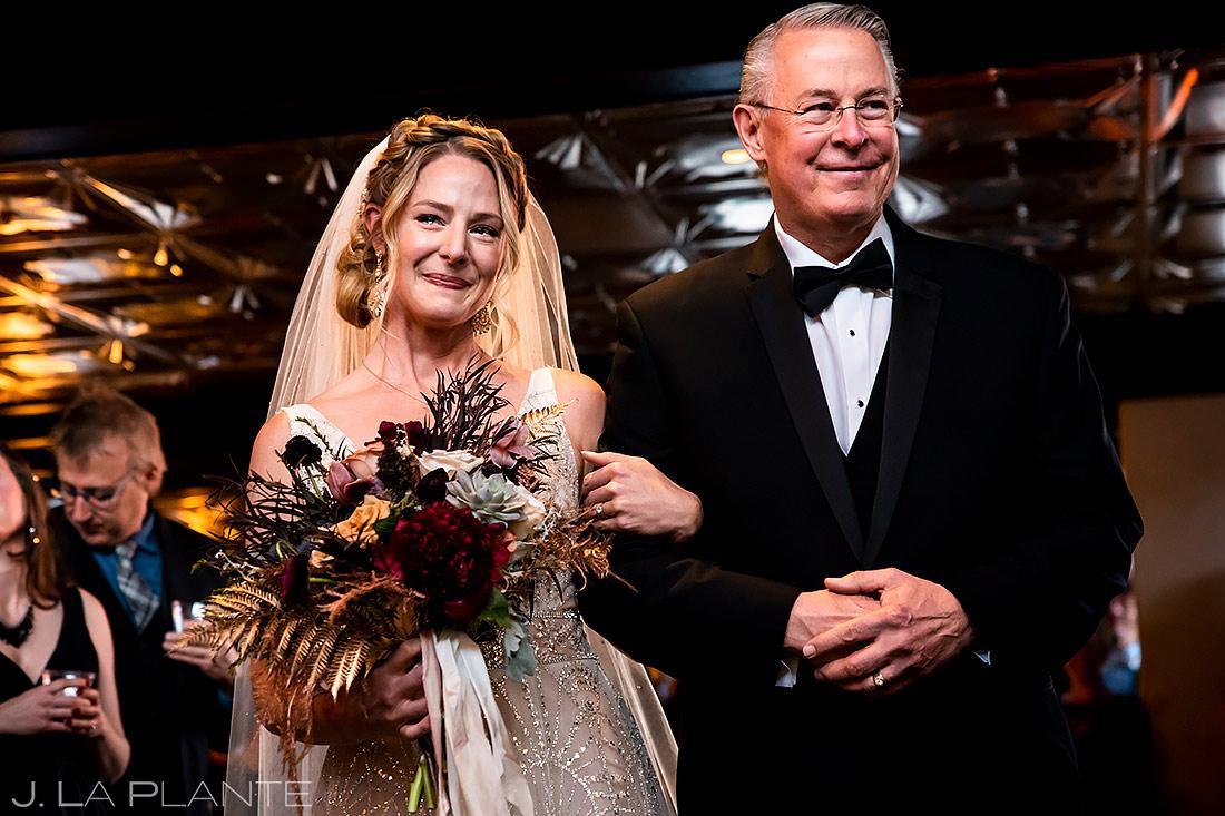 Bride walking down aisle | Ironworks Wedding | Denver Wedding Photographer | J. La Plante Photo